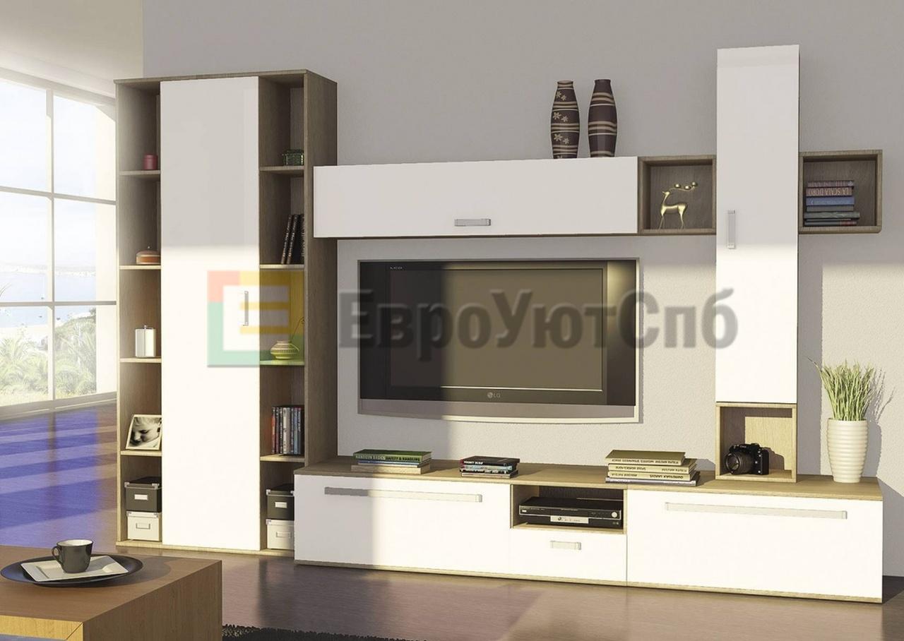 модульная стенка для гостиной рио белый глянец купить в санкт